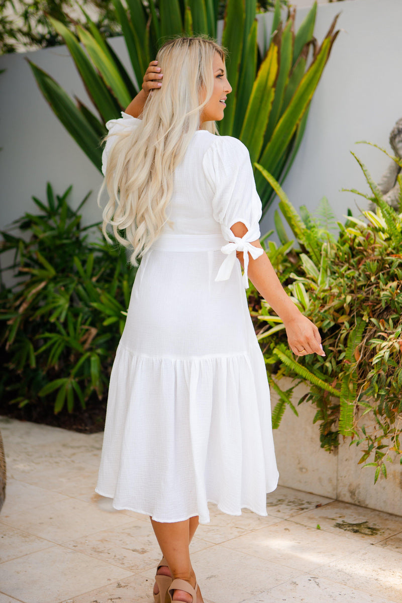 The Kaylee Wrap Dress - White Haven