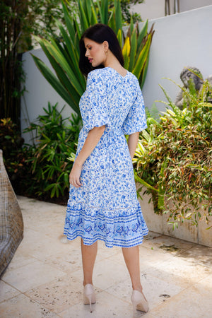 The Odette Dress - Pacific Blue