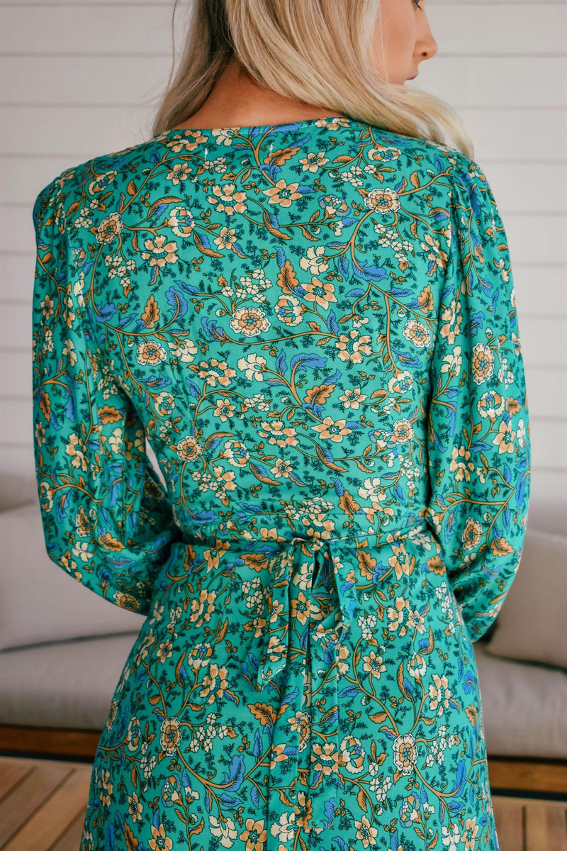 The Nyra Wrap Dress – Emerald