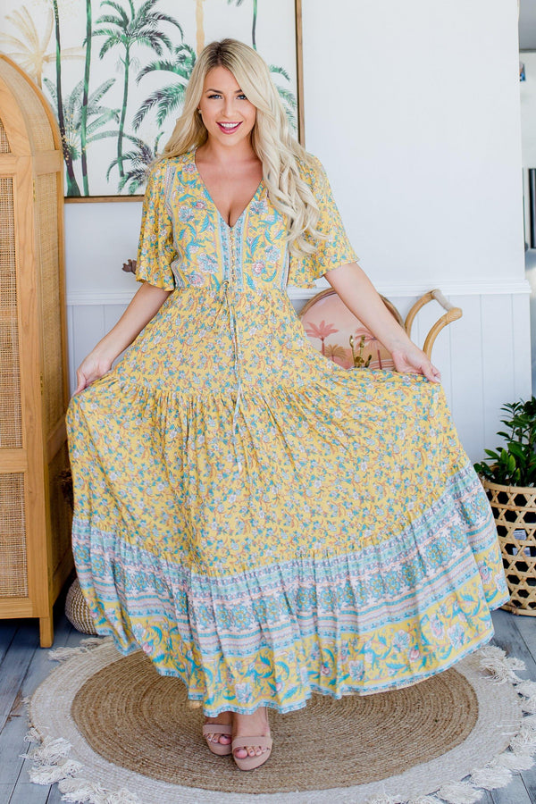 The Aiko Dress - Canary Yellow