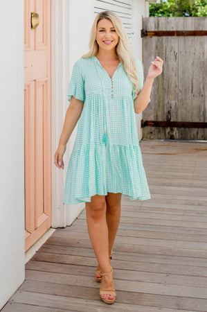 The Emerson Dress - Mint Gingham
