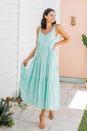 The Evelyn Dress - Mint Gingham