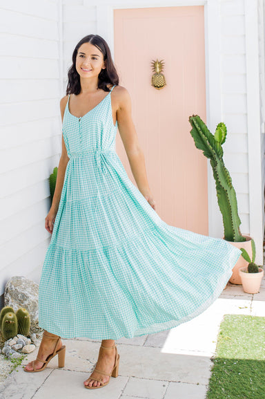 The Evelyn Dress - Mint Gingham - Sparrow & Finch Boutique
