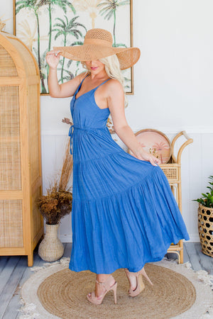 The Evelyn Dress - True Blue