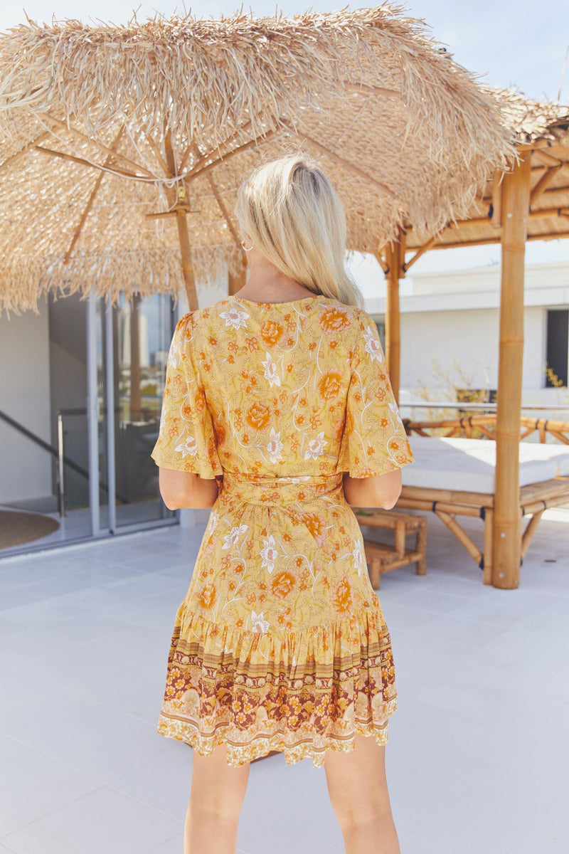 The Melanie Wrap Dress -  Turmeric