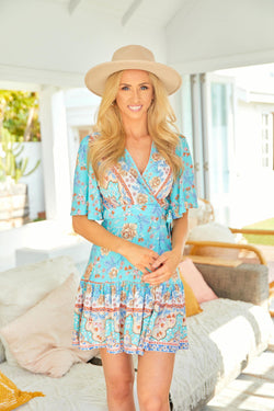 The Melanie Wrap Dress -  Sky Blue