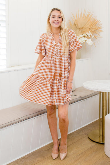 The Emerson Dress - Nude Gingham - Sparrow & Finch Boutique