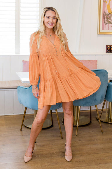 The Shaye Dress - Peach - Sparrow & Finch Boutique