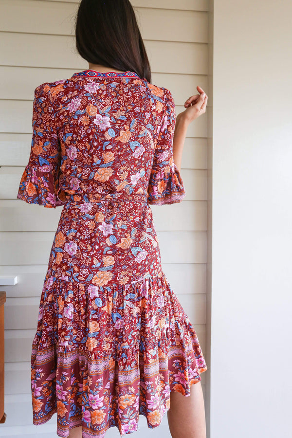 Dress The Rosa – Wine Floral Wrap Dress