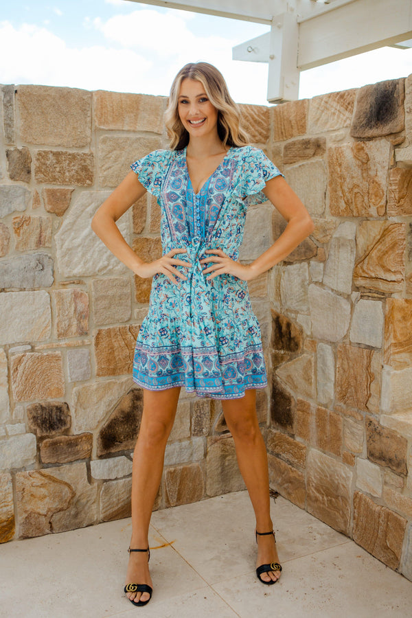 The Nala Dress - Paisely Blue