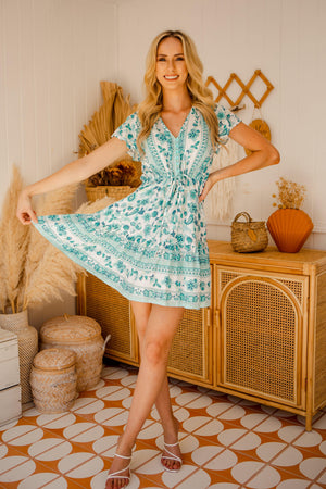 The Nala Dress - Green Foliage