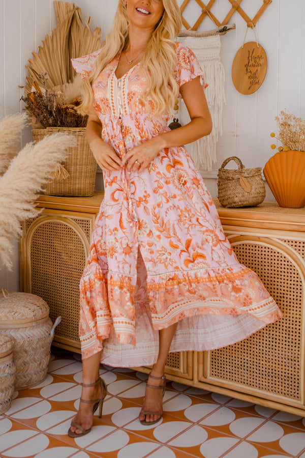 The Analia Dress - Peach