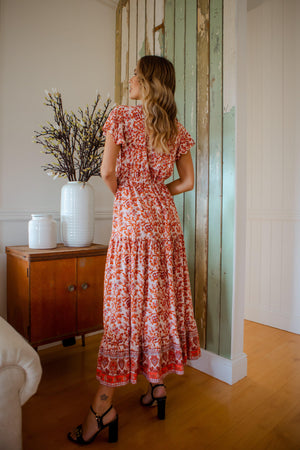 The Ember Dress - Paisely Red