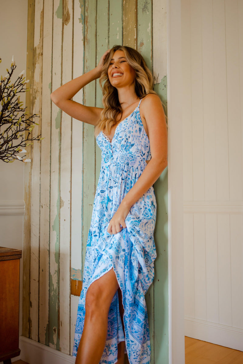 The Castaway Dress - Pacific Blue