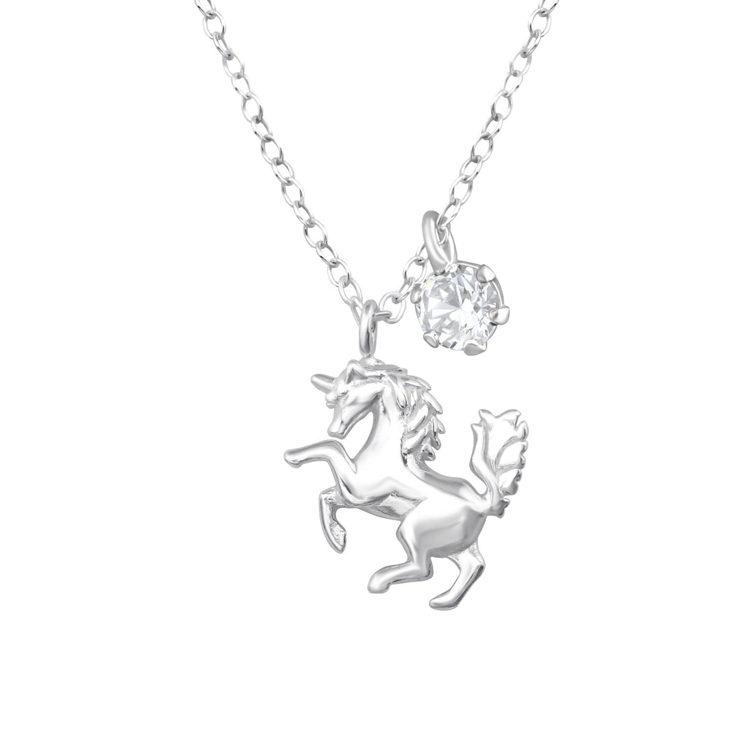 Sterling silver unicorn necklace with added cubic zirconia jewel