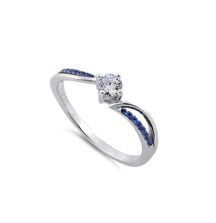 Blue and clear cubic zirconia sterling silver ring