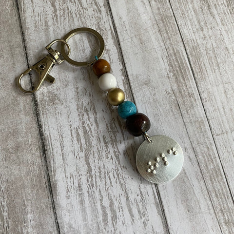 Boho Beaded Braille Keychain