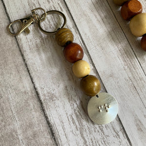 Wood Beaded Braille Keychain