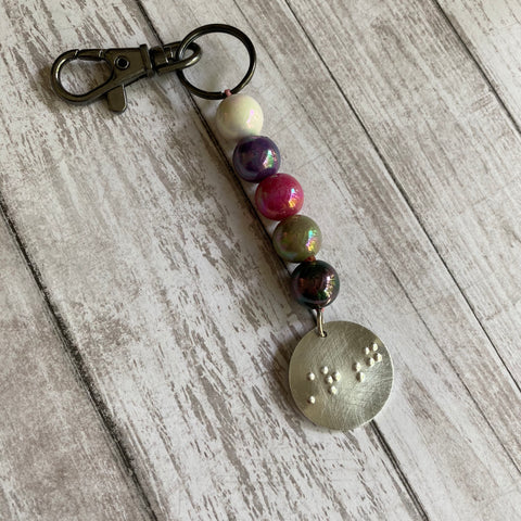 Metallic Beaded Braille Keychain