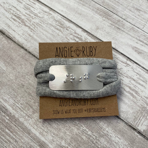 STRONG: Recycled T-shirt Wrap Bracelet with Braille Pendant