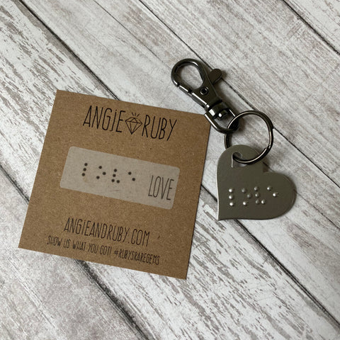 Love in Braille Heart Keychain