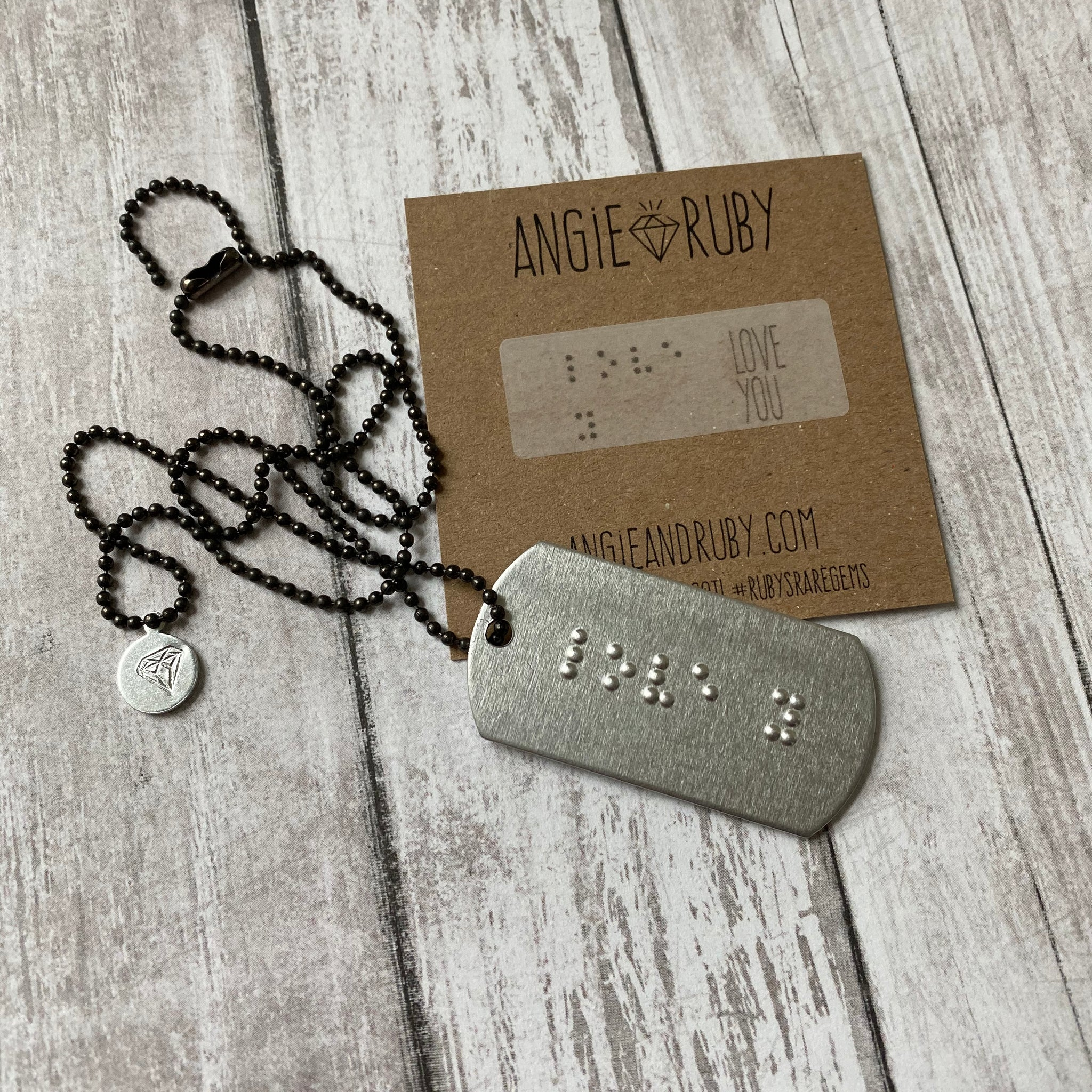 LOVE YOU: Braille Dog Tag Necklace