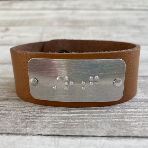 STRONG: Leather Cuff Bracelet with Braille Inscription