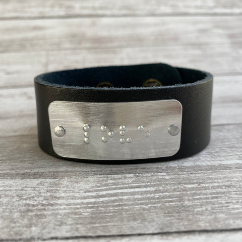 LOVE: Leather Cuff Bracelet with Braille Inscription