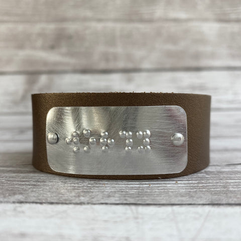 WORTHY: Leather Cuff Bracelet with Braille Inscription