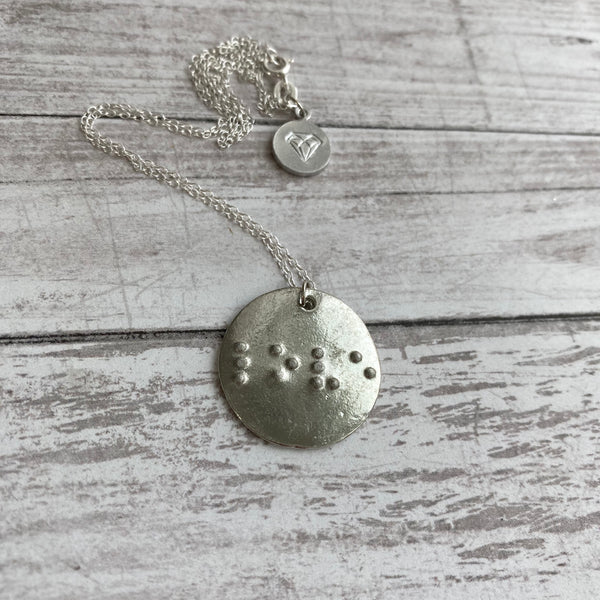 LOVE: Pewter Circle Braille Pendant Necklace with Sterling Silver Chain