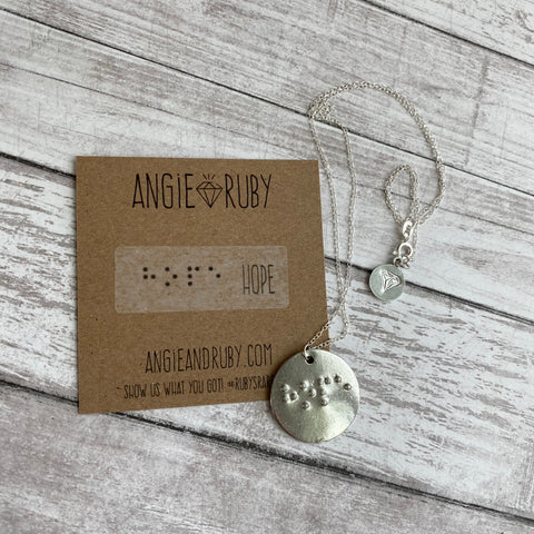 HOPE: Pewter Circle Braille Pendant Necklace with Sterling Silver Chain