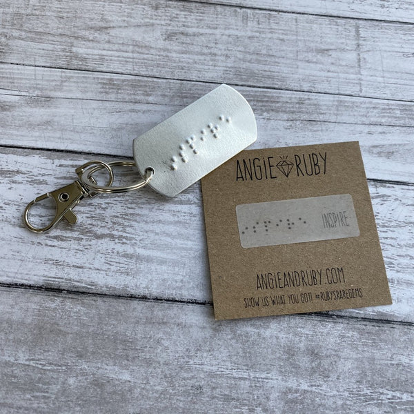 Personalized Braille Dog Tag Keychain