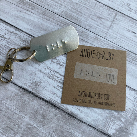 LOVE: Braille Dog Tag Keychain
