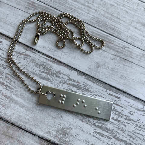 YOU ARE ENOUGH: Open Heart Braille Message Bar Pendant Necklace with Ball Chain