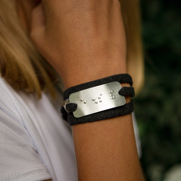 LOVE: Recycled T-shirt Wrap Bracelet with Braille Pendant