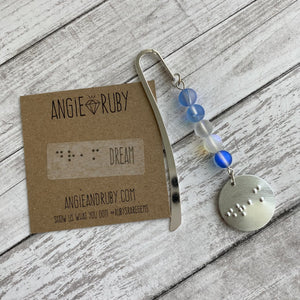 Frozen-Inspired Small Bookmark with Braille Charm