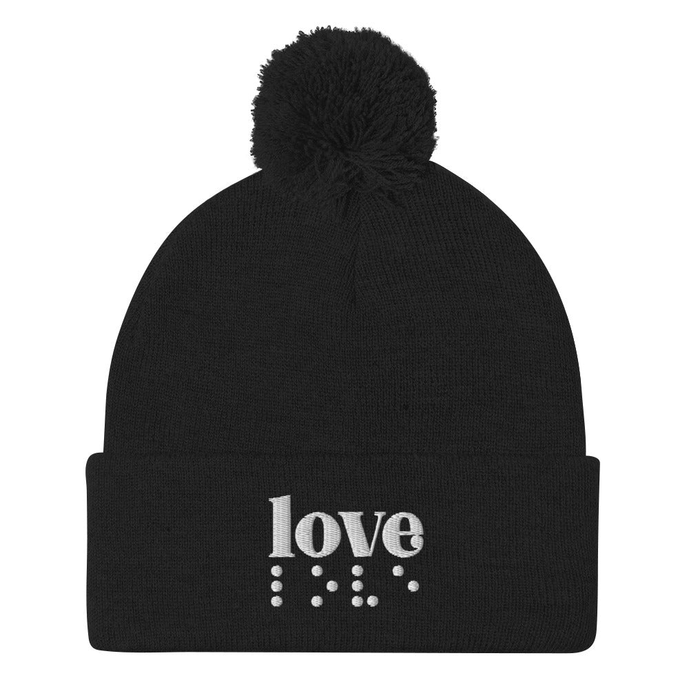 Love in Braille Pom Pom Knit Cap