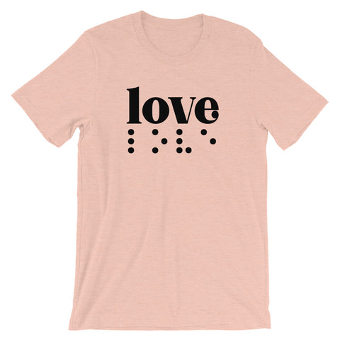Love in Braille Unisex Adult Tee - Dark Print