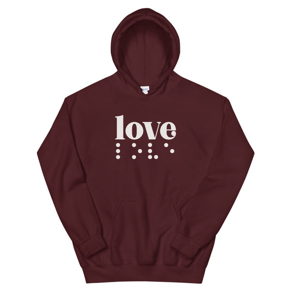 Love in Braille Unisex Hoodie - Light Print