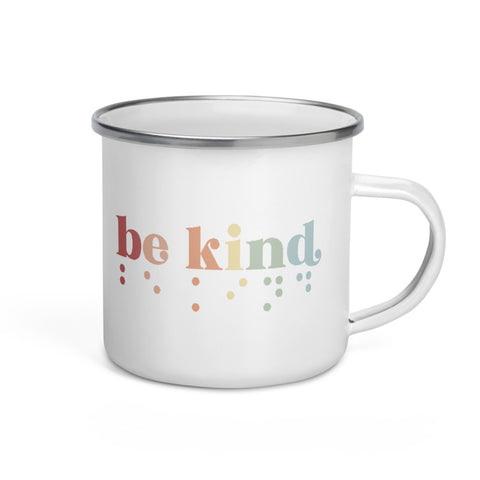 Be Kind in Braille Enamel Camper Mug