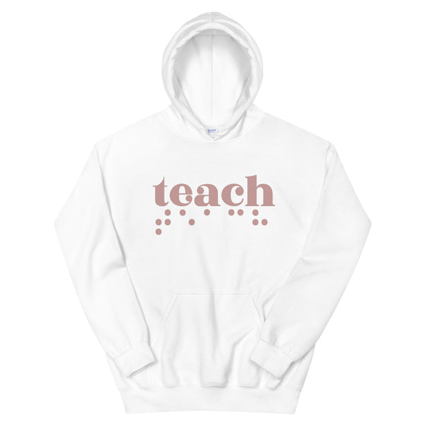 Teach Braille Unisex Hoodie - Rose
