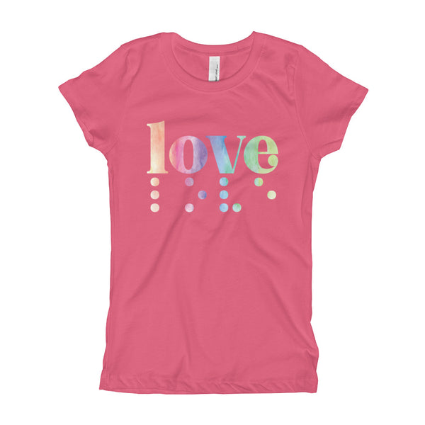 Love in Braille Youth Slim Fit Tee - Rainbow