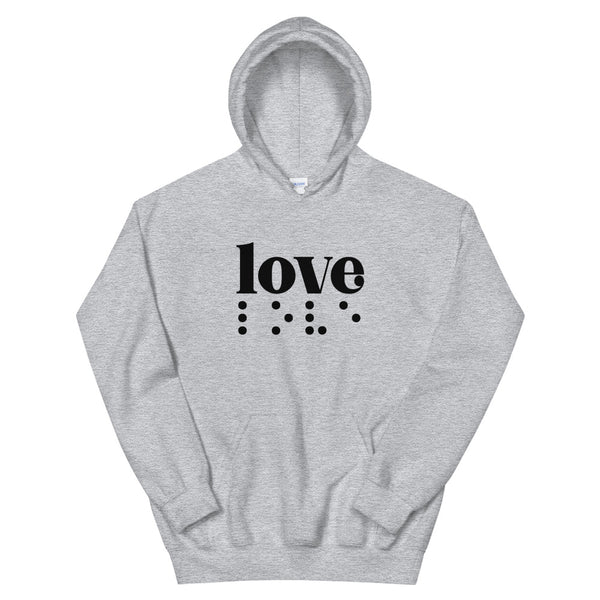 Love in Braille Unisex Hoodie - Dark Print