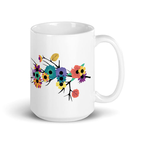 """Wild"" in Braille Flowers Mug"