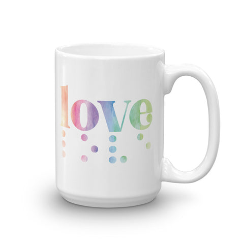 Love in Braille Mug - Rainbow