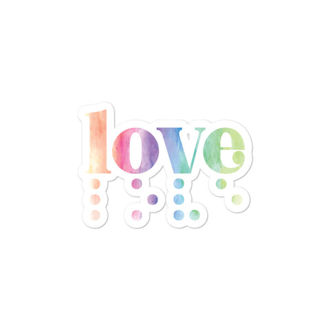 Love in Braille Sticker - Rainbow