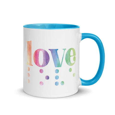 Love in Braille Mug - Rainbow + Blue