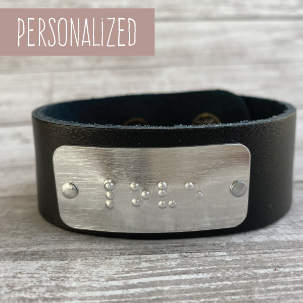 Personalized Leather Cuff Bracelet with Braille Inscription