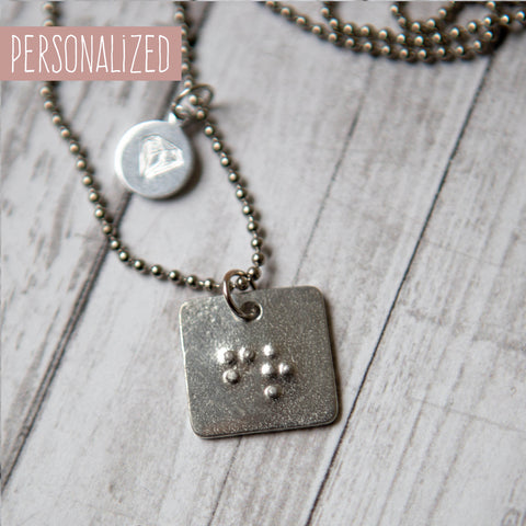 Personalized Square Braille Initials Necklace on Ball Chain