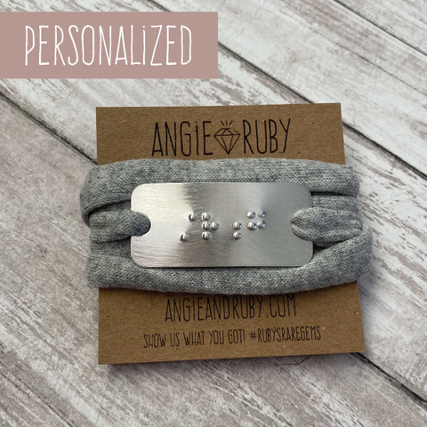 Personalized Recycled T-shirt Wrap Bracelet with Rectangle Braille Pendant